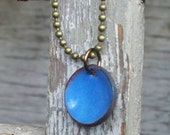 Copper Penny Necklace Blue Enameled penny on antiqued copper necklace chain