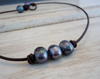 Three Wishes  Black/Peacock  Pearl Leather Necklace