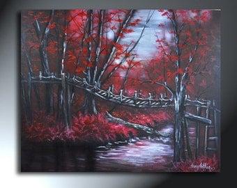 Red Forest Trees With Bridge And River Landscape Original Artwork 24x30 Bridge Of No Return