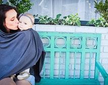 Charcoal Gray Nursing Cover/ Nursing Poncho/ Full Coverage/ Modern/ Privacy/ Breastfeeding/ Nursing Shawl