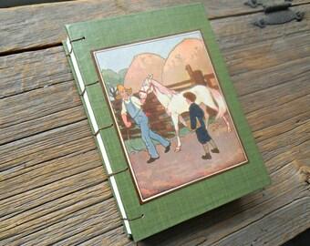 Blank Coptic Stitch Journal Green Book With Vintage Children's Horse On Farm Illustration, Green Art Journal