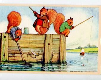 Fishing, Pk 98, Margaret Tempest, Vintage English postcard, dressed squirrels vintage postcard, SharonFosterVintage