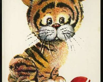 Vintage tiger cub postcard, Little tiger with ball vintage postcard by artist L. Manilova, tiger illustration