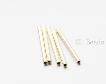 60pcs Raw Brass Tube 2x25mm with ID 1.4mm  (1684C-T-2)