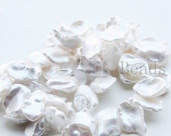 One Strand (15.5 Inches) Top Drilled Freshwater Keshi Pearl-Irregular 12.9x12.5mm (14)