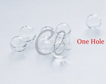 10pcs Hand Blown Hollow Glass Beads- Round Clear with One Hole on the Top 8mm to 10mm (28H)