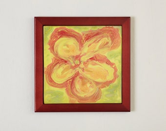 Tile Wall Art Yellow Red Green Impressionist Flower