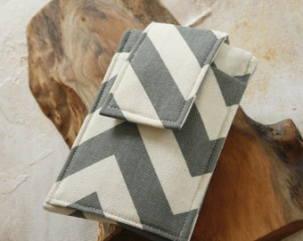 Gear for iphones, Gear for Android, cell phone sleeve, iphone case, samsung cover in Grey Chevron