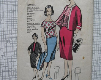 "1960s Suit & Blouse - 34"" Bust - Maudella 5057 Sewing Pattern"