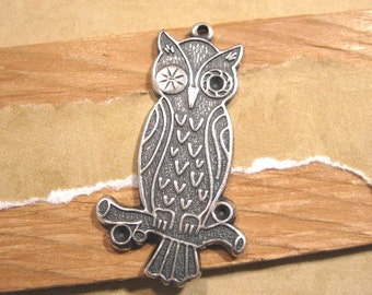 Winking Owl Pendant in Antique Silver