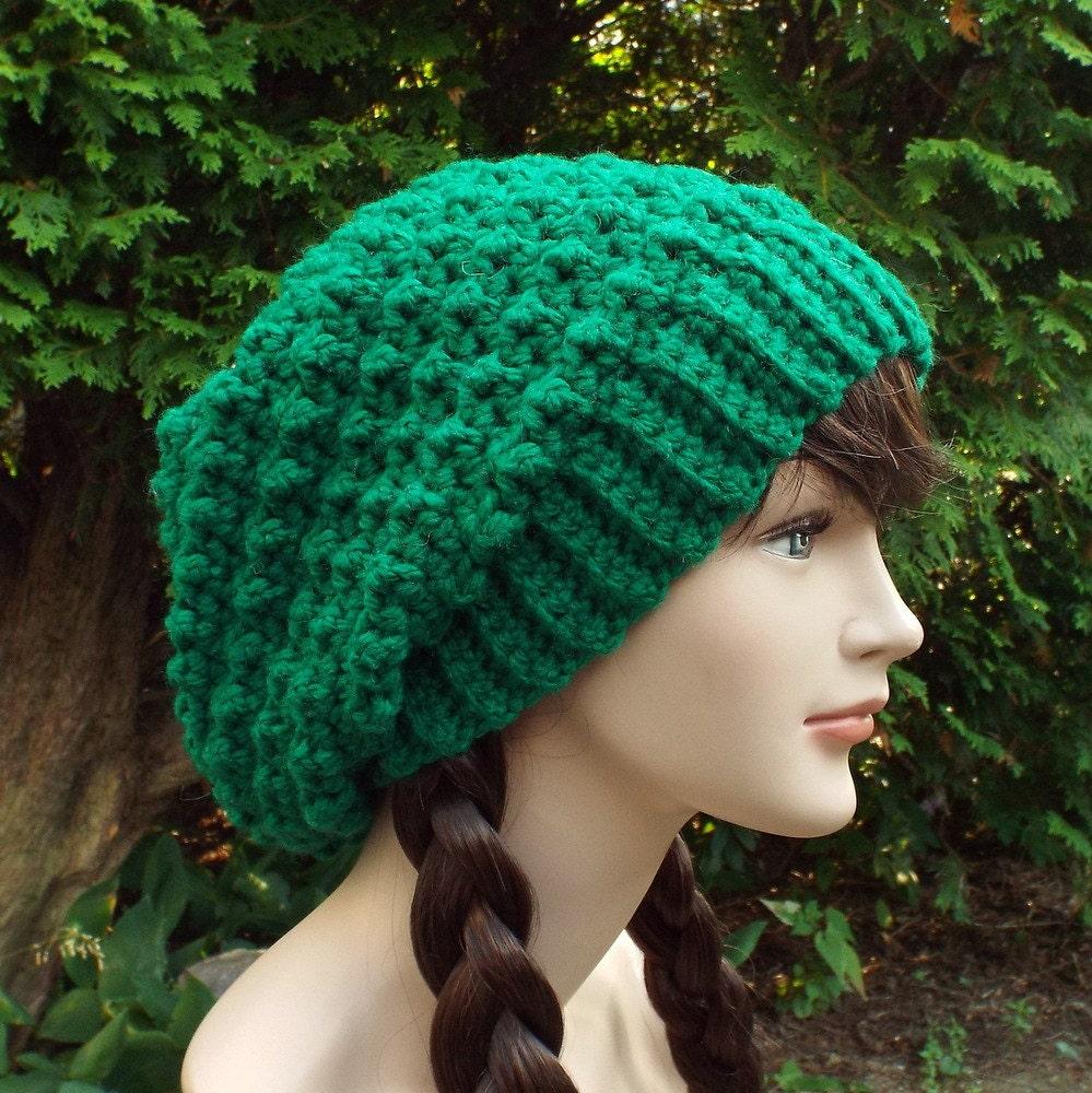Crochet Slouch Hat: Green Slouchy Crochet Hat Womens Slouch Beanie Oversized