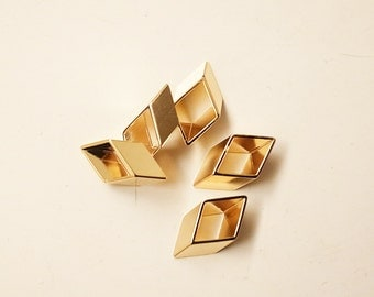 20 pieces of vintage old stock cut raw brass tube outline charm in tiny rhombus plated in gold color 8x3x13mm