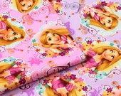 Disney licensed fabric Princess Rapunzel  50 cm by 106  cm or 19.6 by 42  inch Half meter available in 2 background colors