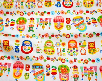ON SALE Matryoshka Russian dolls fabric 50 cm by 106 cm or 19.6 by 42 inches