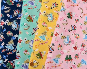 "Alice in Wonderland fabric sets 19.6""  square each color total of 4 colors"