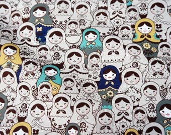 """Matryoshka Fabric Cotton linen 50 cm by 53 cm or 19.6"""" by 21"""" Fat quarter"""