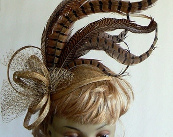 Kentucky derby pheasant cocktail hat - pheasant feather fascinator - horse race pheasant couture ladies hat