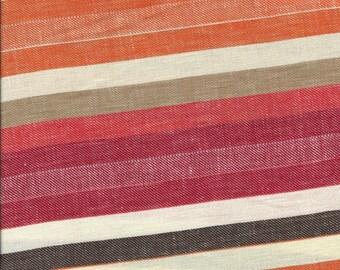 "Orange, Tan, Brown & Red Striped Linen Fabric. 57"" wide. 1 yard."