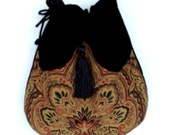 Tapestry Pocket Bag  Black  Velvet Bag With Tassel  Renaissance Bag  Crossbody Velvet Purse