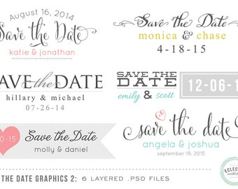 INSTANT DOWNLOAD - 6 Save the Date Wedding Overlay Graphics No. 2- Layered .psd files