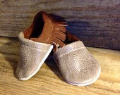 Distressed Brown Fringe Soft Soled Leather Moccasins Shoes Baby pick your size 0-3m,  3-9m, 6-12m, 12-18m