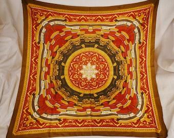 Vintage SCARF Silk 1980s Designer Trama Milano Curtains Tassels   design colorful 35x35 signed  Stunning