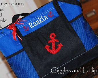 Personalized large zippered tote bag with anchor nautical theme