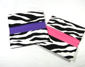 Checkbook Cover Zebra Print Fabric with YOUR choice of lining color