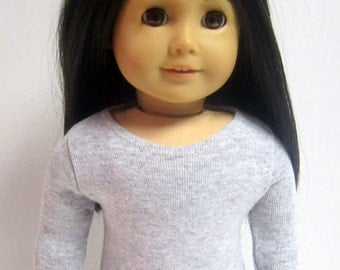 American Girl Doll Fitted Grey Long Sleeved Tee by Crazy For Hue