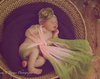 Newborn  Cheesecloth, Newborn Wrap Photography Prop, Pink and Green Cheesecloth, Baby Wrap, Newborn Photo Prop, Newborn Cheeseclth Wrap