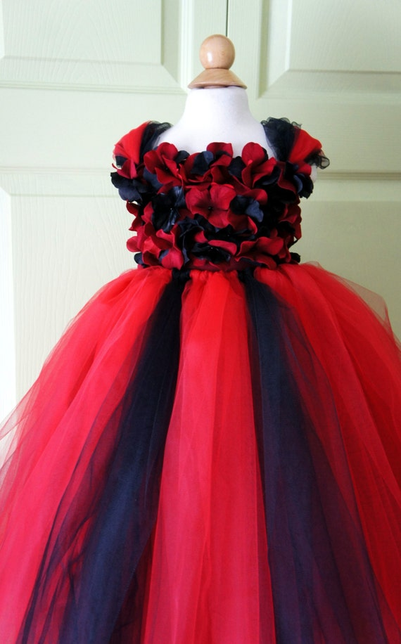 Flower girl dress Red and Black tutu dress flower by ...