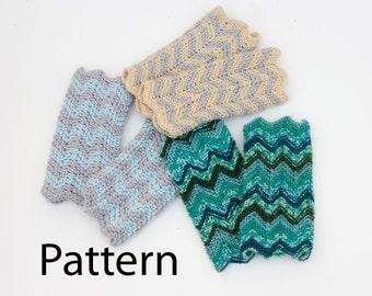 PDF Chevron Fingerless Gloves Knitting  Pattern. Knit  Wrist Warmers PDF Pattern, Instant Download