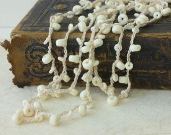 Long Necklace, Off White Boho Jewelry Necklace,  Summer  Beach Jewelry,  Crochet Jewelry