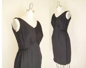 LBD Cocktail Sophisticate / Vintage 60s Cocktail Dress /  Vintage 1960s Little Black Dress / Mad Men Jackie O / I Magnin , Small Size 4