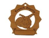 French Angora Rabbit  Personalized Wood Ornament