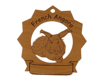 French Angora Rabbit  Personalized Wood Ornament - Free shipping