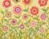 Flower Painting - Flower Art - Bohemian Flower Painting - Flower Collage - Wooden Art Block Print - Mixed Media Painting