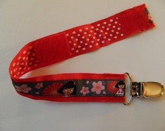 Girl's PACIFIER Clip Holder - Asian Girl with Parasol - Great Baby Shower, Newborn or Adoption Gift