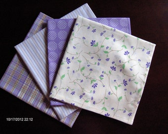 Purple Napkins. Mixed Prints Napkins. Set of 4, with 3 Lavender Sachets Gift Set. Great Bridal Shower and Hostess Gift