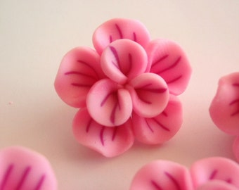 5 Clay Beads, Jewelry Making Supply, Beautiful Handmade Pink Flowers of Polymer Clay
