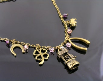 Good Luck Necklace with Wishing Well, Wishbone and Good Luck Pig Charm, Crystal Necklace with Good Luck Charms