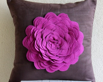 "Designer Brown Accent Pillows, 16""x16"" Faux Suede Pillowcase, Square  3D Purple Felt Origami Rose Flower Pillows Cover - Pink Rose"