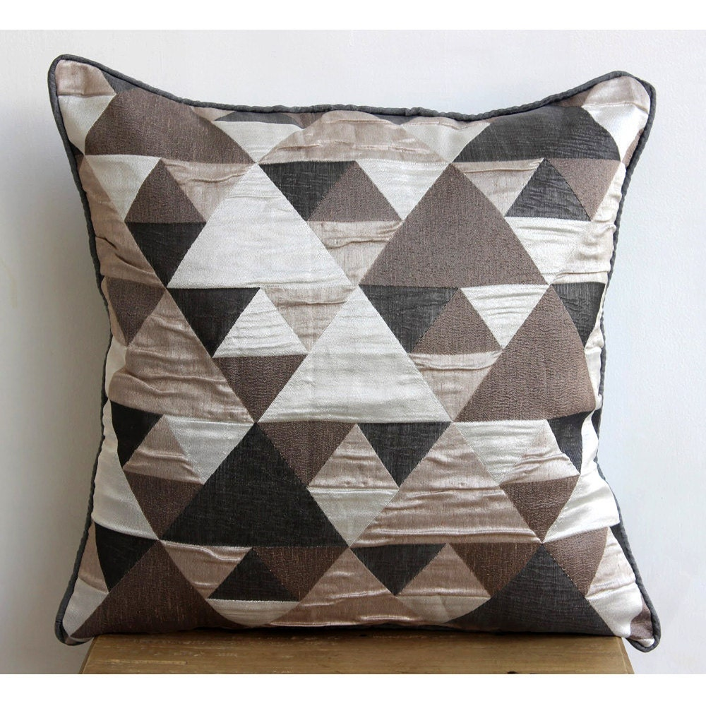 Jacquard Throw Pillows : Designer Brown Throw Pillow Covers 16x16 Jacquard