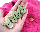Ceramic bunny buttons, Handmade buttons, Decorative buttons - In stock