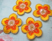 4 Pieces of Embroidered Yellow Cherry Blossom Iron On Patches Free Shipping