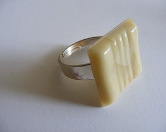 Ivory adjustable mosaic tile ring