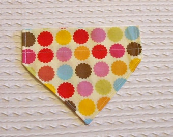 Dog Bandana with Star Bursts  Sizes XS to L in Over Dog Collar Style