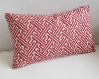 TRELLIS GERANIUM red coral/white lumbar decorative Pillow Cover 12x20