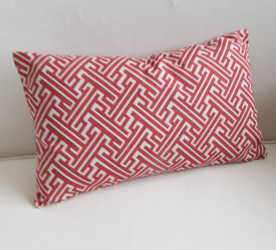 TRELLIS GERANIUM red coral/white lumbar decorative Pillow