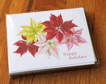 Poinsettia holiday cards with envelopes (pack of 10)